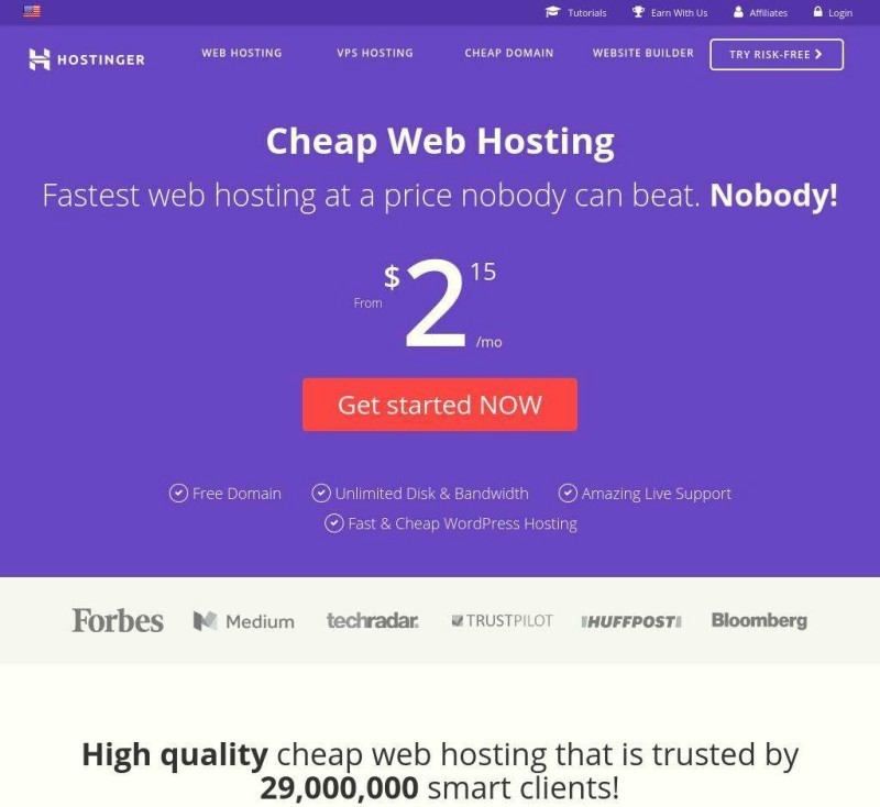 Hostinger-Review-Web Hosting-Review-Home-Page